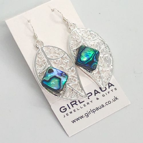 Paua & Silver Leaf Earrings - Diamond PE20-D